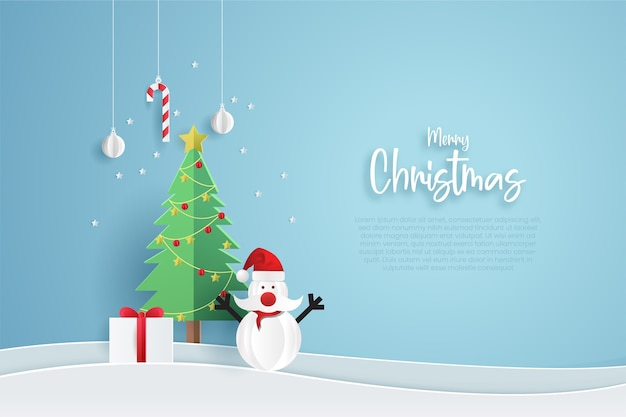 Merry christmas banner template. paper cut style.