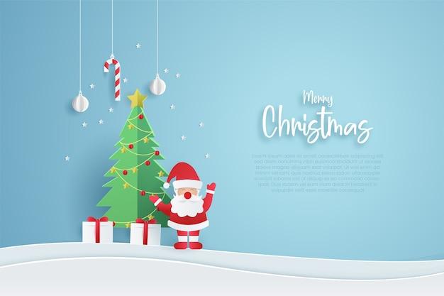 메리 크리스마스 배너 템플릿입니다. 종이 컷 스타일.