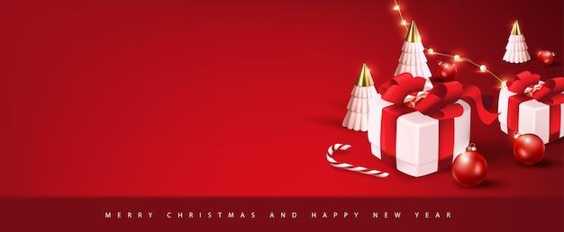 クリスマスのお祝いの装飾が施されたメリークリスマスバナーテンプレート