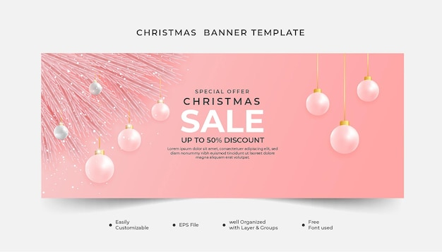 Merry christmas banner template with rose gold background an dxmas balls