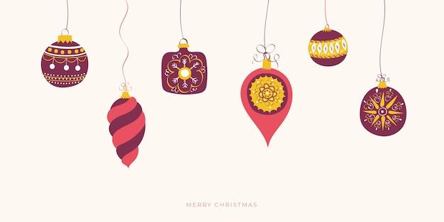 クリスマスボールとメリークリスマスバナー。