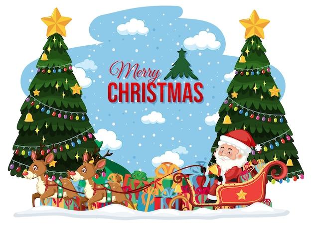 Счастливого рождества баннер с рождественскими деталями