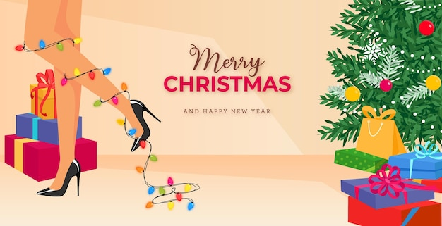Merry christmas banner with christmas glowing lights on cartoon female legs