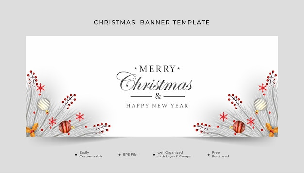 Merry christmas  banner with christmas leaf snowflakes and white ball