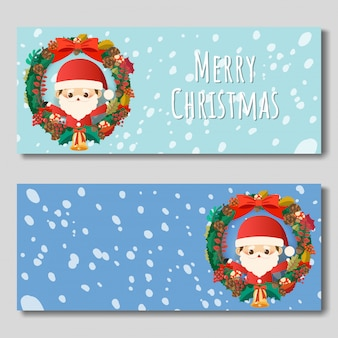 Merry christmas banner with christmas ring and santa claus.
