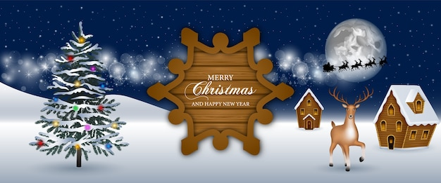 Счастливого рождества баннер с елкой и снежным пейзажем
