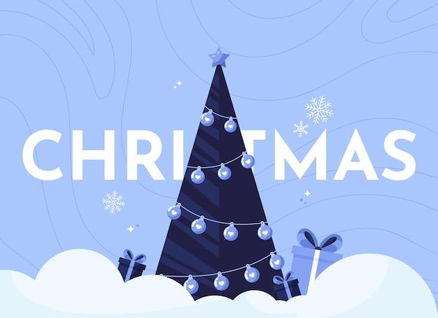 Merry christmas banner with christmas tree