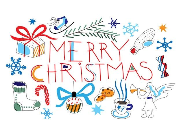 お祝いの休日の装飾が施されたメリークリスマスバナークリスマスキャンディケインモミブランチエンジェル