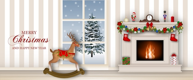 Merry christmas banner with fireplace and rocking reindeer