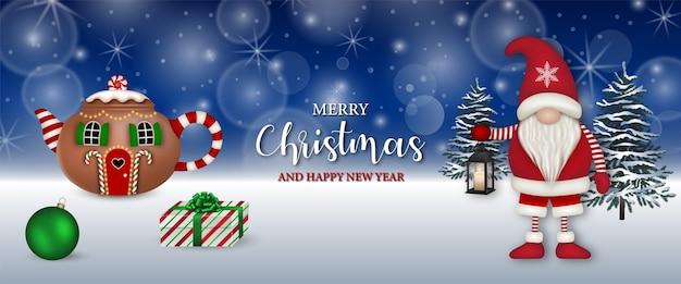 Счастливого рождества баннер с забавным гномом