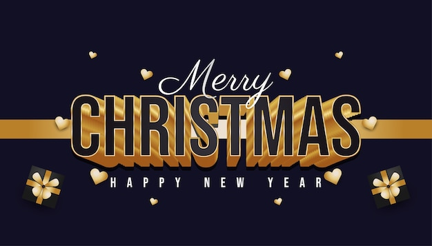 Merry christmas banner with gift box, gold heart and 3d black and gold text