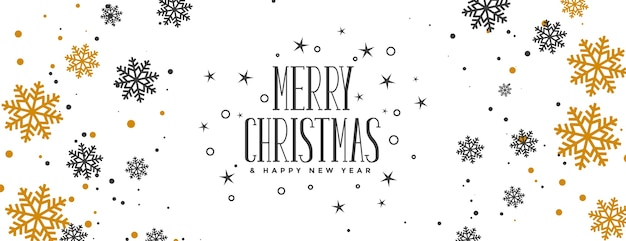 Счастливого рождества баннер с золотыми и черными снежинками