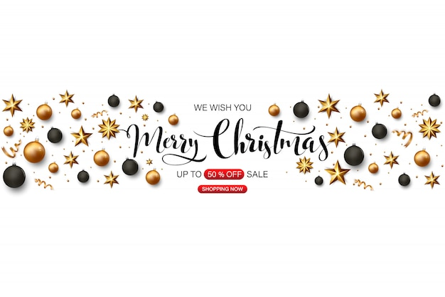 Merry christmas banner with gold and black christmas balls