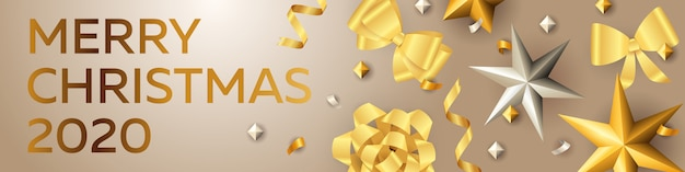 Merry christmas banner with golden and silver elements