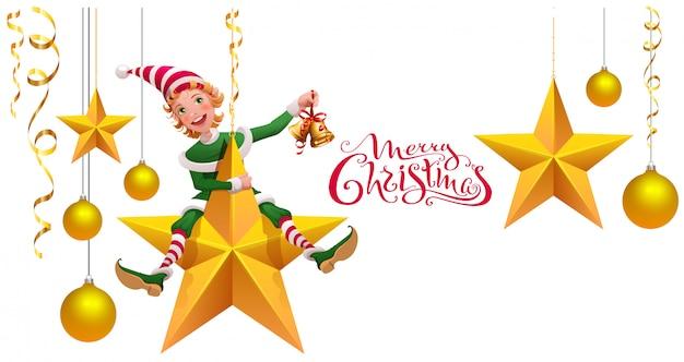Merry christmas banner with green elf leprechaun on star holding christmas bell