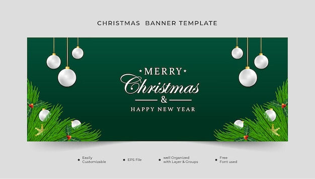 Merry christmas  banner with green leaf snowflakes and white ball
