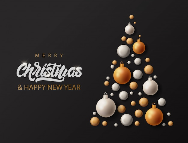 Merry christmas banner with lettering and realistic big tree