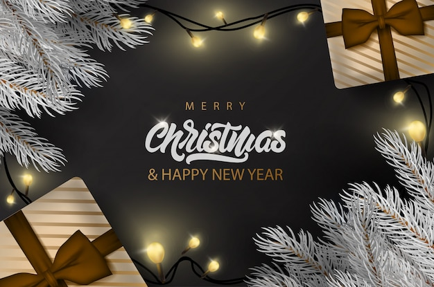 Merry christmas banner with lettering text banner