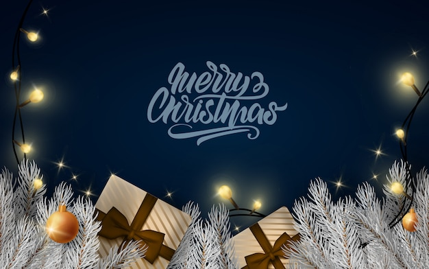 Merry christmas banner with lettering text.