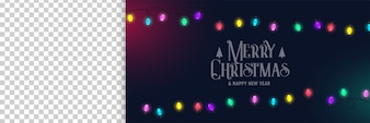 Merry christmas banner with lights and image space