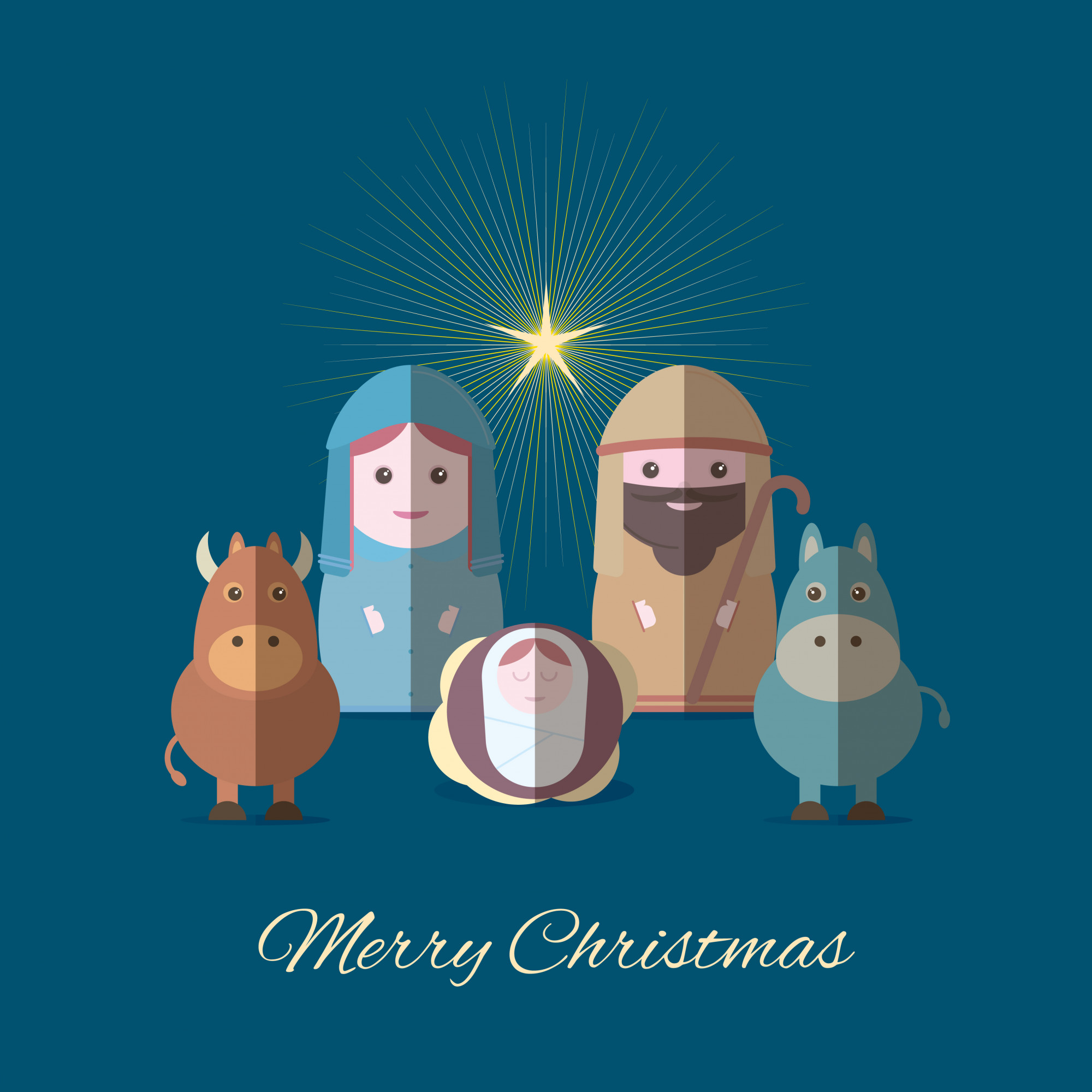 Merry Christmas banner with mary and joseph with baby Jesus