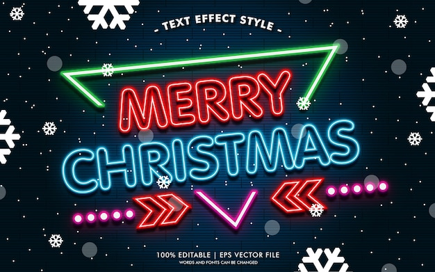 네온 텍스트 효과 스타일의 메리 크리스마스 배너