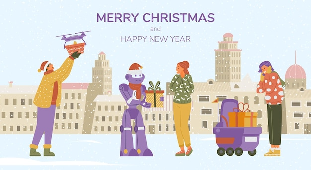 Merry christmas banner with people receiving gifts from robots and drones in winter city