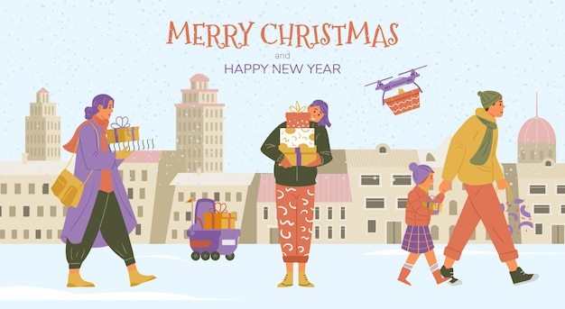 Merry christmas banner with people walking holding gifts in winter city