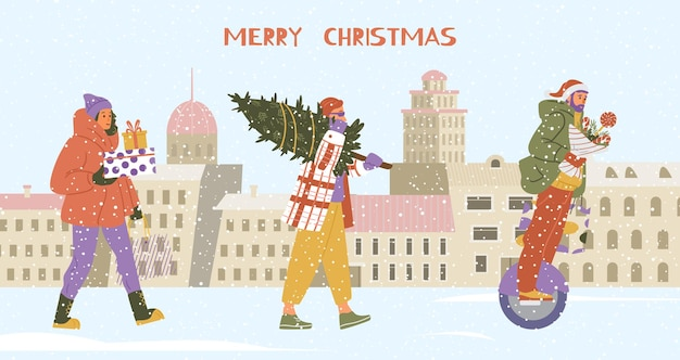 Merry christmas banner with people walking and riding mono wheel holding gifts
