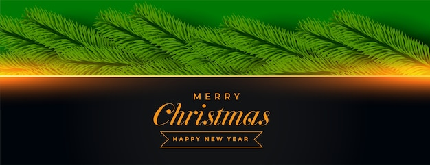 Merry christmas banner with pine tree decoration
