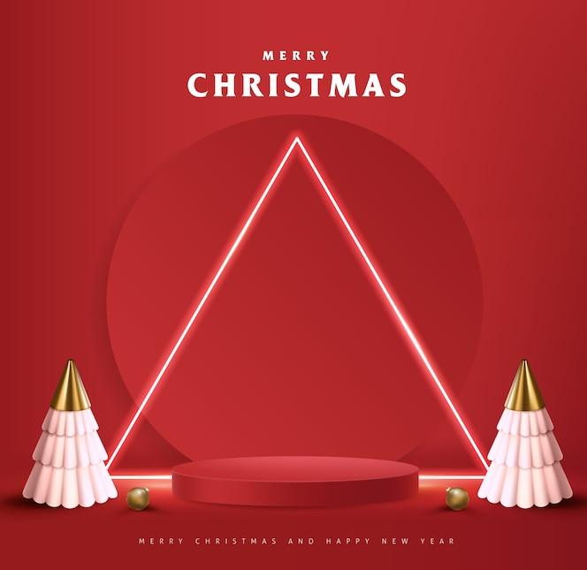製品ディスプレイ円筒形のメリークリスマスバナー