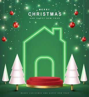 С рождеством христовым баннер с продуктом цилиндрической формы
