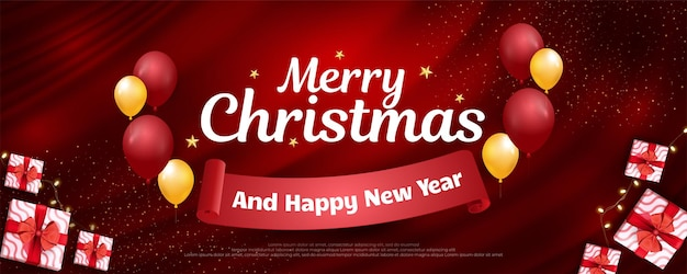 Merry christmas banner with realistic gifts design