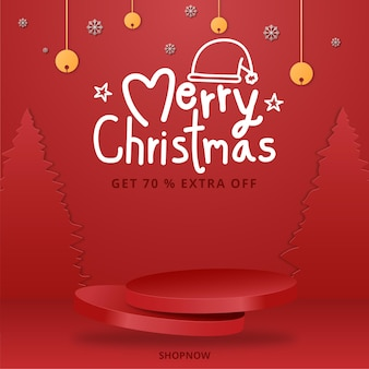 빨간 나무와 연단 메리 크리스마스 배너