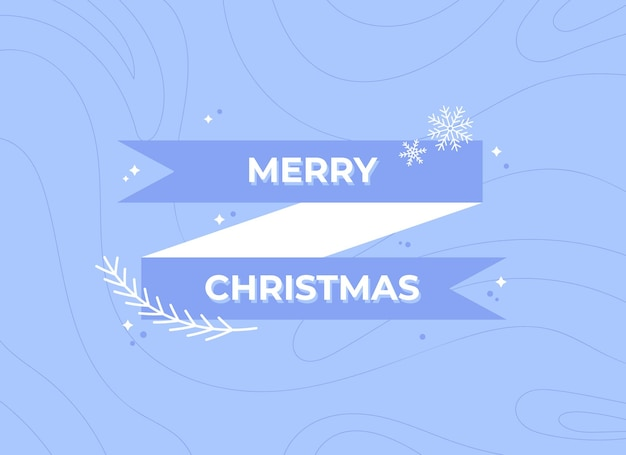 Merry christmas banner with ribbon