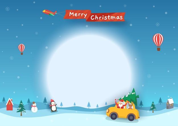 雪の降る冬の背景に車の中でサンタクロースとメリークリスマスバナー