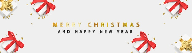 Merry christmas banner with shiny golden text and giftbox on white background
