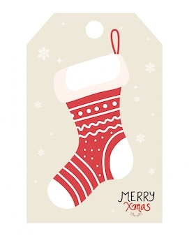 Merry christmas banner with sock hanging