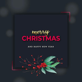 Merry christmas banner with watercolor red berries and leaves on dark background