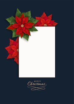 Merry christmas banner witn red flowers, white vertical blank with place for text on a dark blue backdrop.