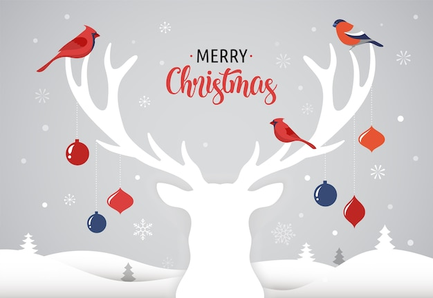 Merry christmas banner, xmas template background with deer silhouette, xmas decoration and birds, illustration