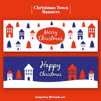 Merry christmas banners of houses and pines