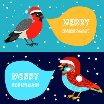 Merry christmas banners with birds