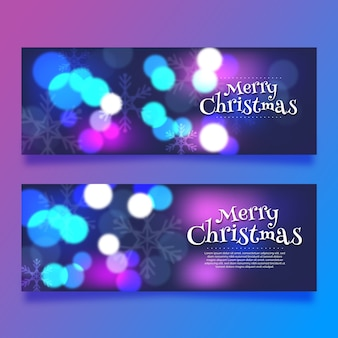 Merry christmas banners with blurred style