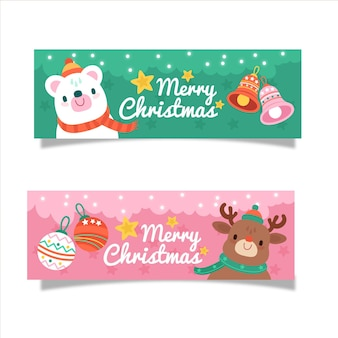 Merry christmas banners with cute characters