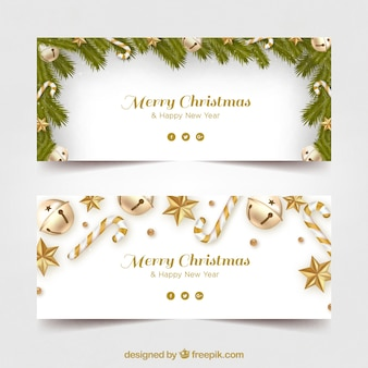 Merry christmas banners with golden decoration