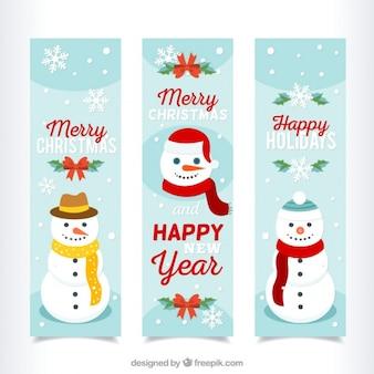 Banner di natale allegra con i pupazzi di neve
