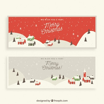 Merry christmas banners with snowy city