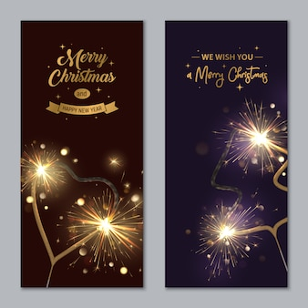 Merry christmas banners with sparklers shaped heart and fir tree