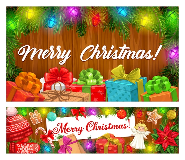 Merry christmas banners of xmas garlands and winter holiday gifts. present boxes with ribbons and bows, candy canes, gingerbread and balls, pine tree, lights and red hat on wooden background